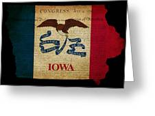 Usa American Iowa State Map Outline With Grunge Effect Flag And  Greeting Card