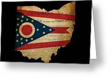 Usa American Ohio State Map Outline With Grunge Effect Flag Inse Greeting Card