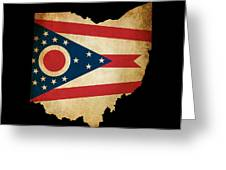 Usa American Ohio State Map Outline With Grunge Effect Flag Greeting Card