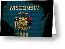 Usa American Wisconsin State Map Outline With Grunge Effect Flag Greeting Card