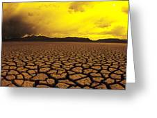 Usa, California, Cracked Mud In Dry Greeting Card