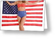 Usa Pinup Girl Greeting Card