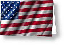 Usa Stars And Stripes Flying American Flag Greeting Card by David Gn