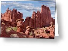 Usa, Utah View Of Fisher Towers Credit Greeting Card