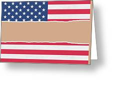 Usa Wrapping Paper Torn Through The Centre Greeting Card