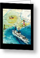 Uscg Chase Helicopter Chart Map Art Peek Greeting Card