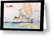 Uscg Sapelo Helicopter Fl Nautical Chart Map Art Peek Greeting Card