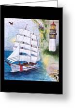 Uscg Tall Ship Eagle Chart Art Peek Greeting Card