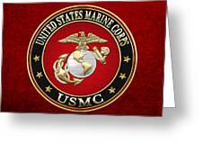 U S M C Eagle Globe And Anchor - E G A On Red Velvet Greeting Card