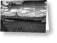 Uss Bowfin-black And White Greeting Card