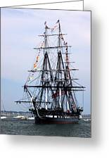 Uss Constitution Greeting Card by Nancy A Santry