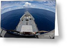 Uss Cowpens Fires Its Mk 45 Mod 2 Gun Greeting Card