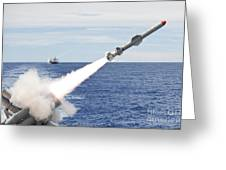 Uss Cowpens Launches A Harpoon Missile Greeting Card