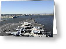 Uss Enterprise Arrives At Naval Station Greeting Card by Stocktrek Images