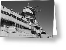 Uss Iowa Battleship Portside Bridge 01 Bw Greeting Card