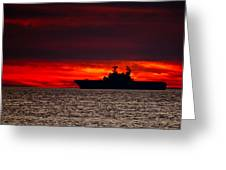 Uss Makin Island At Sunset Greeting Card