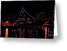 Uss Midway At Night Greeting Card