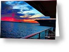 Uss Midway Sunset Greeting Card