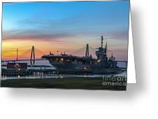 Uss Yorktown Sunset Greeting Card