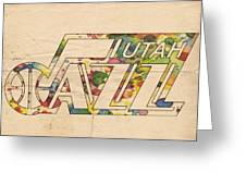 Utah Jazz Retro Poster Greeting Card