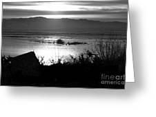 Utah Lake Dusk 03 - Bw Greeting Card