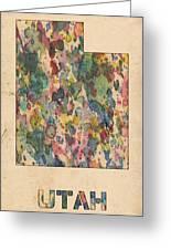 Utah Map Vintage Watercolor Greeting Card