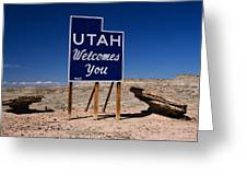 Utah Welcomes You State Sign Greeting Card