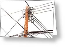 Utility Pole Hung With Electricity Power Cables Greeting Card