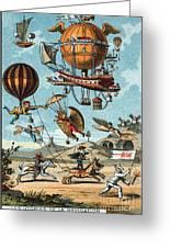 Utopian Flying Machines 19th Century Greeting Card