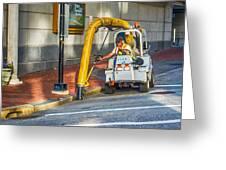 Vacuuming The Sidewalk Greeting Card