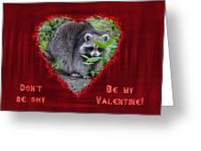 Valentine's Day Greeting Card - Raccoon Greeting Card