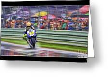Valentino Rossi Fans Line The Fence Greeting Card
