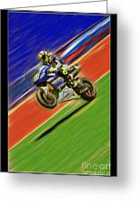 Valentino Rossi Wheely Down The Blue Red And Green Greeting Card