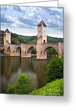 Valentre Bridge In Cahors France Greeting Card