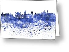 Valletta Skyline In Blue Watercolor On White Background Greeting Card