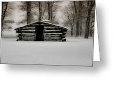 Valley Forge Cabin In Winter Greeting Card