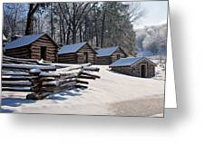 Valley Forge Cabins After A Snow Greeting Card