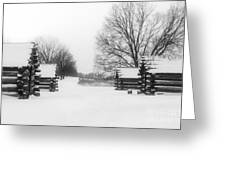 Valley Forge Cabins In Snow Greeting Card
