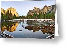Vally View Panorama - Yosemite Valley. Greeting Card