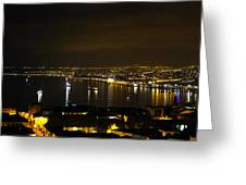 Valparaiso Harbor At Night Greeting Card