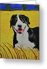 Van Gogh And Mountain Dog Greeting Card