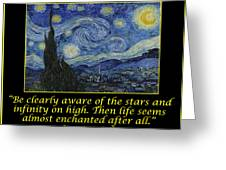Van Gogh Motivational Quotes - Starry Night II Greeting Card