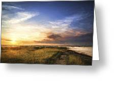 Van Gogh Style Digital Painting Beautful Summer Evening Landscape Over Wetlands And Harbour Greeting Card