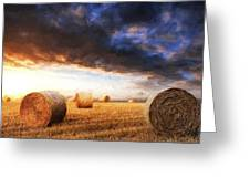 Van Gogh Style Digital Painting Beautiful Golden Hour Hay Bales Sunset Landscape Greeting Card