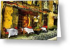 Van Gogh Style Restaurant Greeting Card
