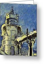 The Frozen Lighthouse Lake Michigan Greeting Card