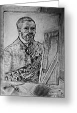 Van Goghs Self Portrait Painting Placed In His Room In Arles France Greeting Card