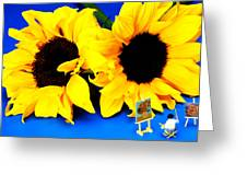 Van Gogh's Sunflower Miniature Art Greeting Card