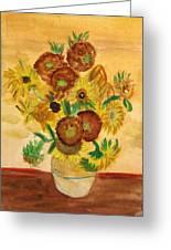 van Gogh's Sunflowers in Watercolor Greeting Card