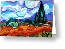 Van Goghs Wheat Field With Cypress Greeting Card